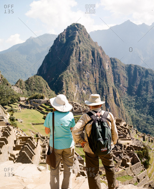 Tourist couple at Machu Picchu in Peru