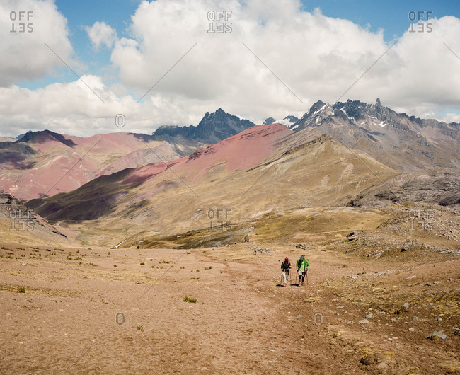 Hikers near Ausangate in the Andes Mountains of Peru