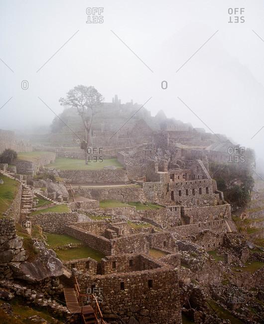 Fog over Machu Picchu in Peru