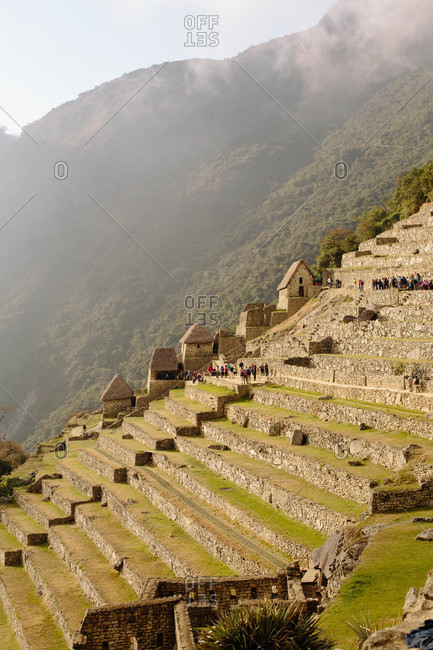 Crowds of tourists visiting Machu Picchu, Peru