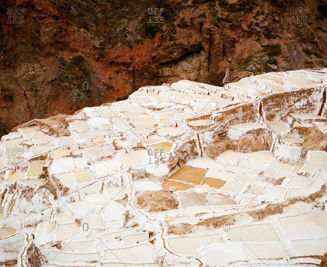 Salt evaporation ponds in Maras, Peru