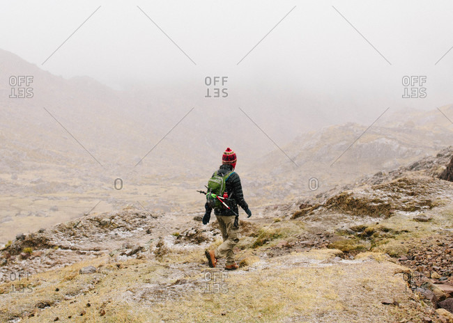 Hiking in the snow at Ausangate in the Andes Mountains of Peru