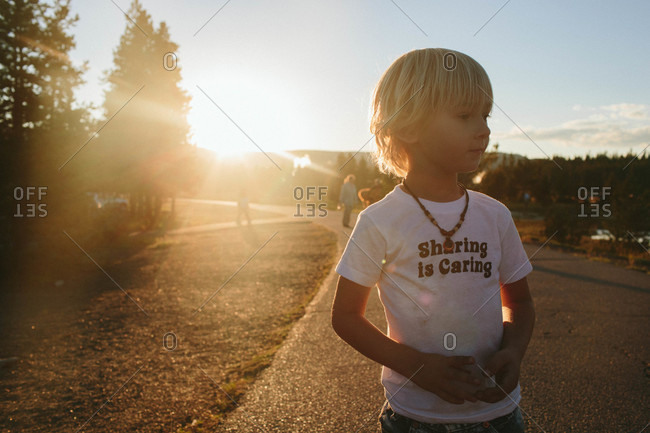 Boy at Yellowstone National Park in Wyoming