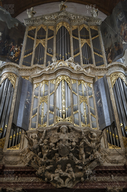 Amsterdam, Netherlands - September 7, 2012: The Organ in Nieuwe Kerk Cathedral