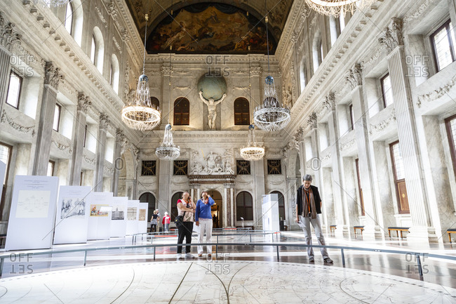 Amsterdam, Netherlands - September 7, 2012: The Citizens' hall in the Koninklijk Paleis, the Royal Palace