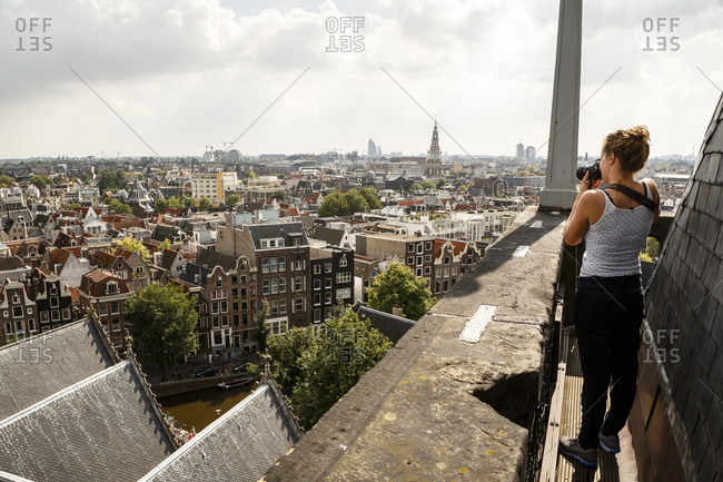 Amsterdam, Netherlands - September 8, 2012: View of the city from the bell tower of Oude Kerk, (Old Church)
