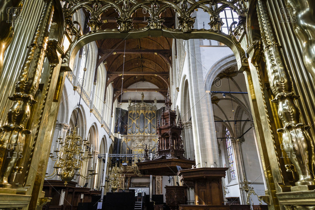 Amsterdam, Netherlands - September 7, 2012: Interior of the Nieuwe Kerk Cathedral