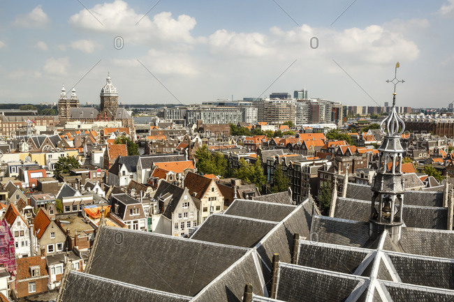 View of the city from the bell tower of Oude Kerk, (Old Church), Amsterdam, Holland, Netherlands