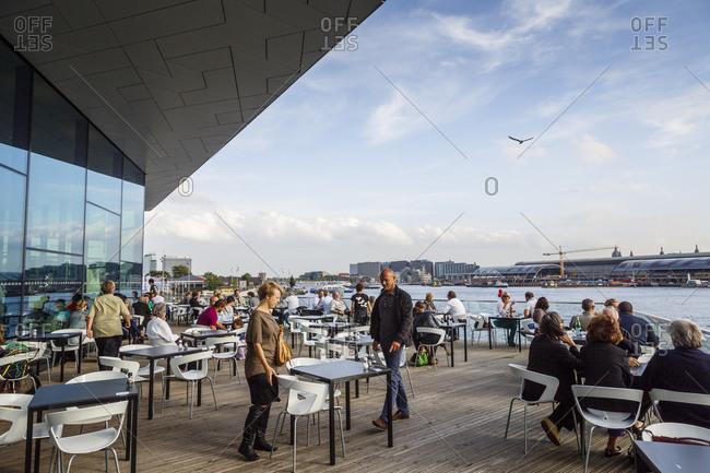 "Amsterdam, Netherlands - September 10, 2012: Restaurant at the ""EYE"" film institute and museum, Amsterdam, Holland"