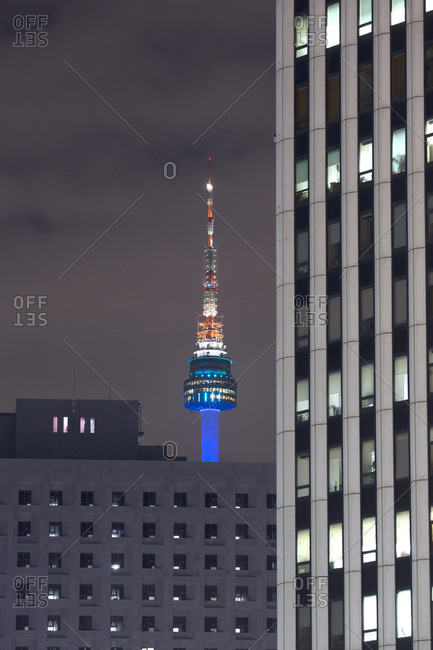 The N Seoul Tower illuminated at night