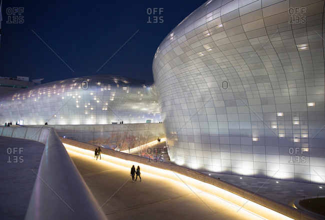 Seoul, South Korea - December 6, 2015: Dongdaemun Design Plaza at night