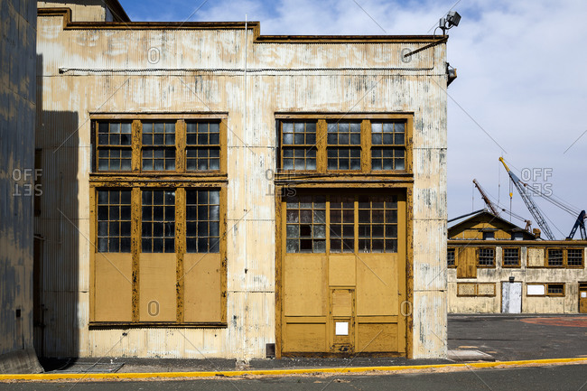 Abandoned shipyard building, California
