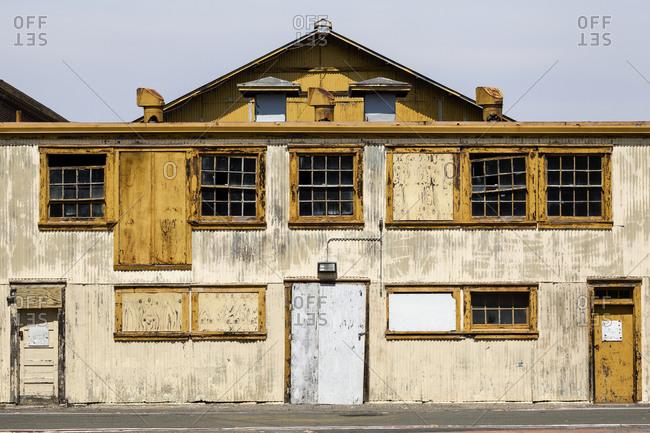 Abandoned shipyard building in California