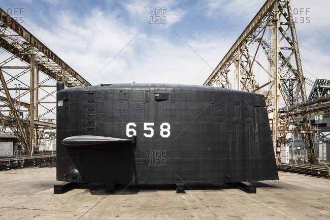 Submarine in old shipyard, California