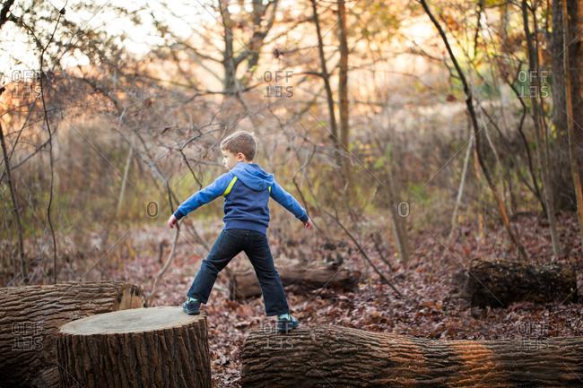Boy climbing on logs