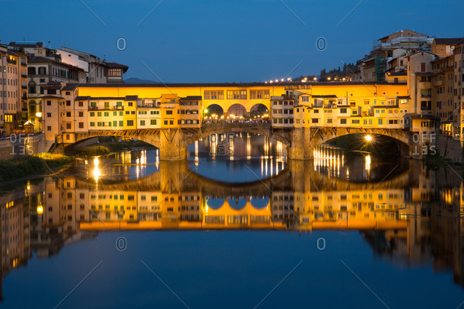 "The Ponte Vecchio (Also know as the ""Old Bridge) is a Medieval stone closed-spandrel segmental arch bridge over the Arno River, in Florence, Italy"