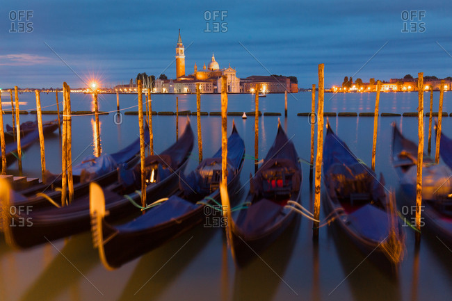 Gondolas parked for the night, Venice, Italy