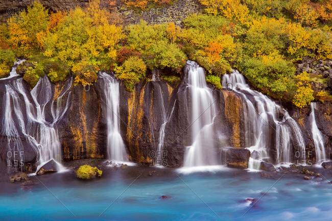 Hraunfossar waterfall in autumn, Iceland