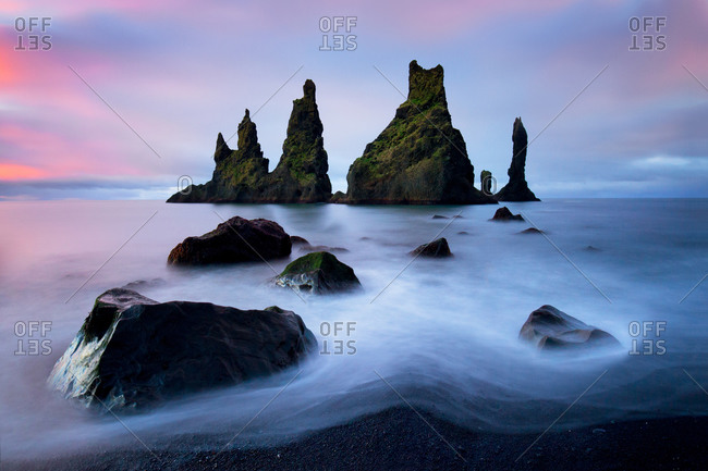 Coastal sea stack formations in Iceland