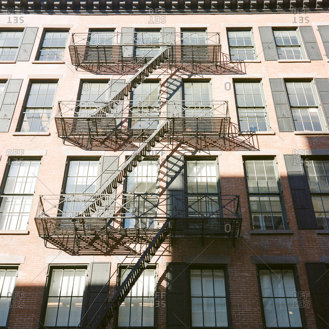 Fire escape on a multi-story residential building