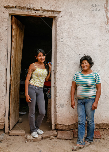 Salta Province, Argentina - January 3, 2012: Women in Valles Calchaquies between Cafayate and Cachi