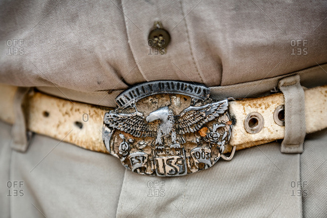 Valles Calchaquies, Salta Province, Argentina - January 3, 2012: Belt buckle on a local man
