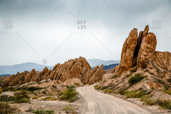 Dirt road in Valles Calchaquies between Cafayate and Cachi in Salta Province, Argentina