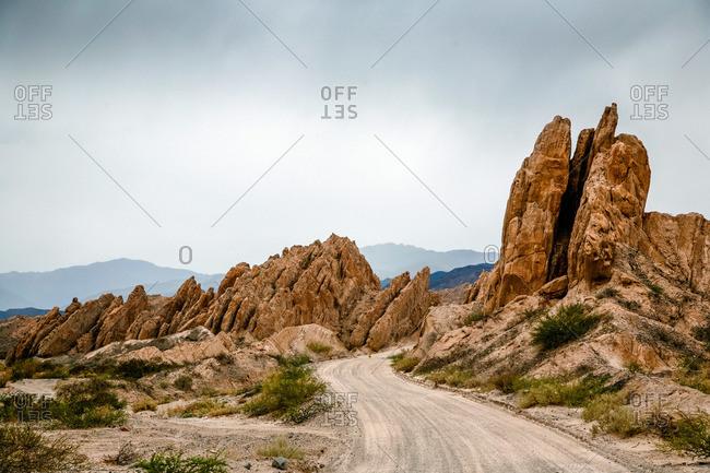 Dirt road in Valles Calchaquies between Cafayate and Cachi in Salta Province, Argentina