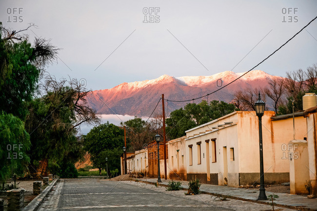 Street and mountains in Molinos, Salta Province, Argentina