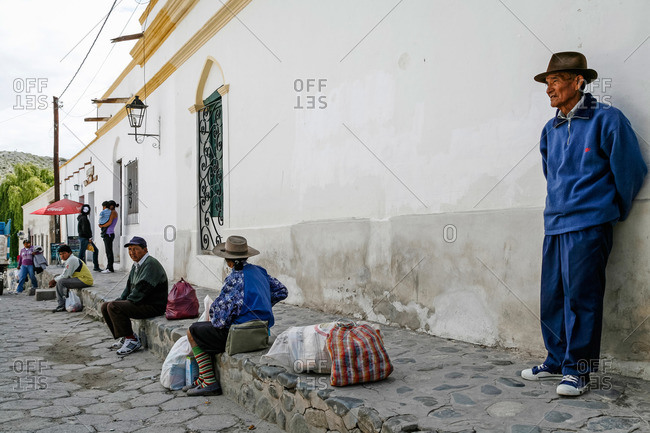 Cachi, Salta Province, Argentina - January 4, 2012: Street scene in Cachi