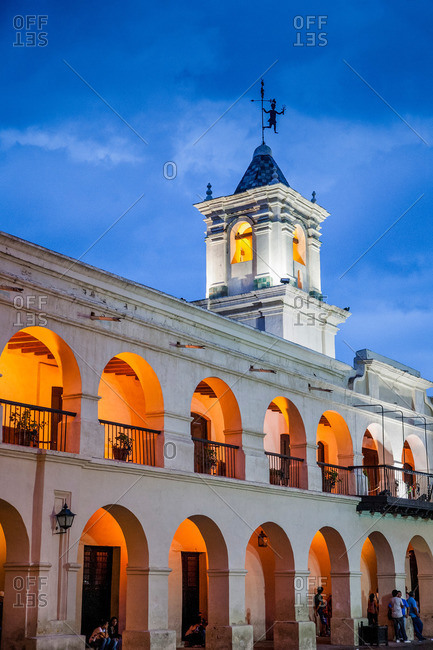 Salta, Argentina - January 5, 2012: The Cabildo city council building at night
