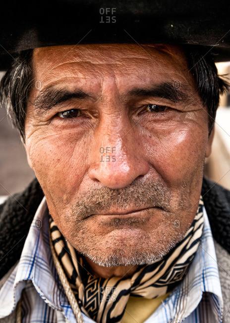 Salta, Argentina - January 5, 2012: Portrait of a local native man