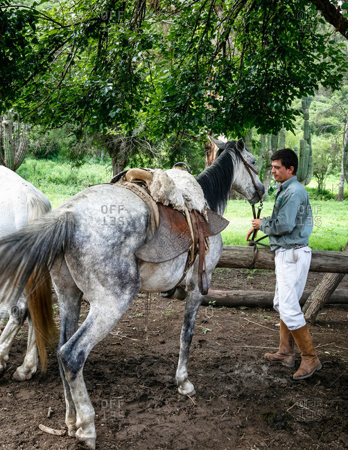 Salta Province, Argentina - January 5, 2012: Gaucho at an estancia near Guemes