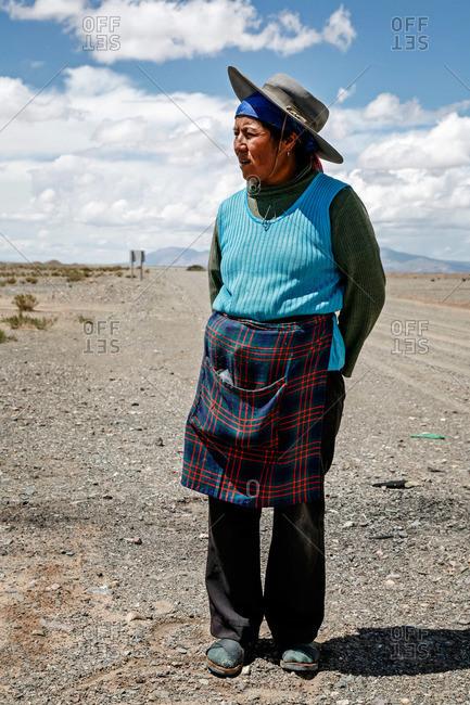 Jujuy Province, Argentina - January 6, 2012: Portrait of a Quechua woman near Salinas Grandes