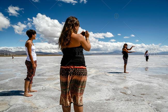 Jujuy Province, Argentina - January 6, 2012: Tourists at Salinas Grandes