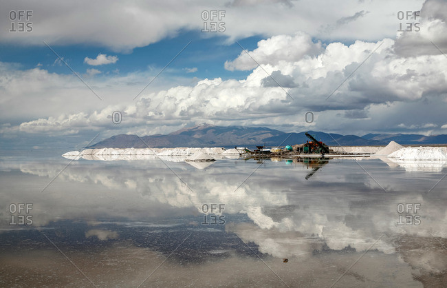 Salt extraction machinery in Salinas Grandes, Jujuy Province, Argentina.