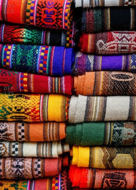 Carpets made of llama and alpaca wool at the market in Purmamarca, Quebrada de Humahuaca, Jujuy Province, Argentina