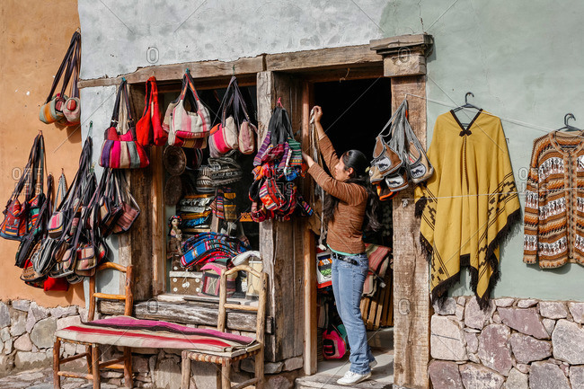 Purmamarca, Quebrada de Humahuaca, Jujuy Province, Argentina - January 7, 2012: Shop selling local crafts and souvenirs