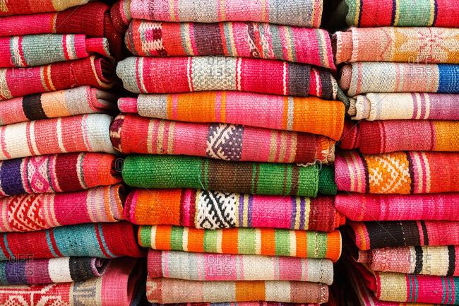 Blankets made of llama and alpaca wool at the market in Purmamarca, Quebrada de Humahuaca, Jujuy Province, Argentina