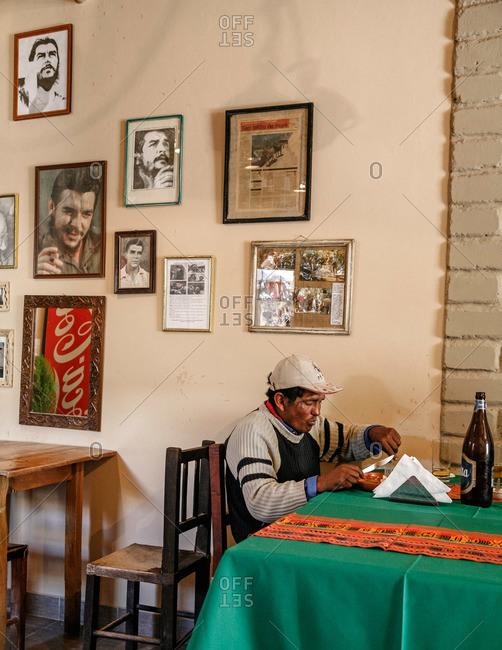 Humahuaca, Quebrada de Humahuaca, Jujuy Province, Argentina - January 7, 2012: Mikunayok restaurant