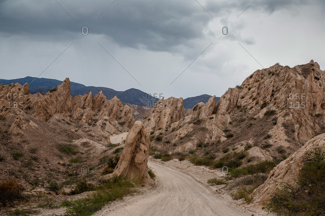 Valles Calchaquies dirt road between Cafayate and Cachi in Salta Province, Argentina