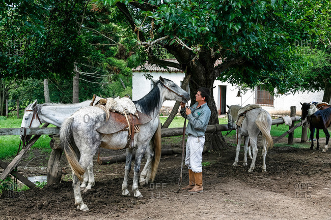 Salta Province, Argentina - January 5, 2012: Gaucho with horses at an estancia near Guemes
