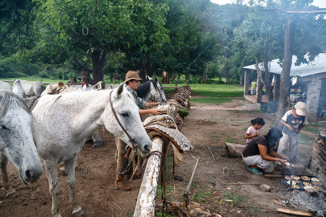 Salta Province, Argentina - January 6, 2012: Gauchos at an estancia near Guemes