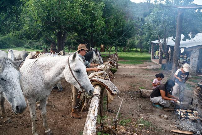 Salta Province, Argentina - January 6, 2012: Gauchos at an estancia near Guemes