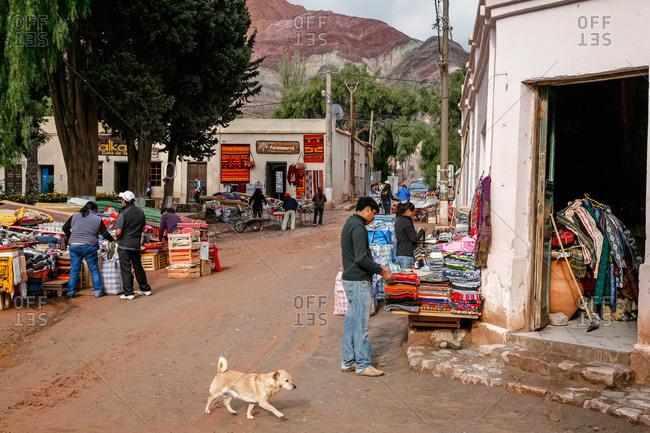 Purmamarca, Quebrada de Humahuaca, Jujuy Province, Argentina - January 7, 2012: Market scene
