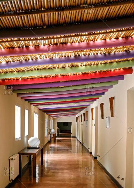 Quebrada de Humahuaca, Jujuy Province, Argentina - Janiary 7, 2012: Interior of Hotel Huacalera, Quebrada de Humahuaca, Jujuy Province, Argentina