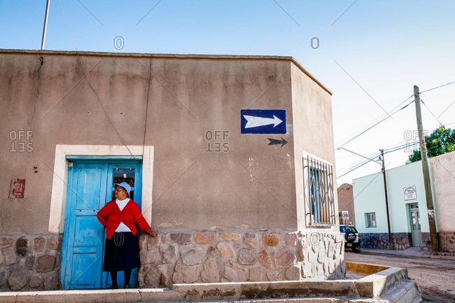 Humahuaca, Quebrada de Humahuaca, Jujuy Province, Argentina - January 8, 2012: Street scene