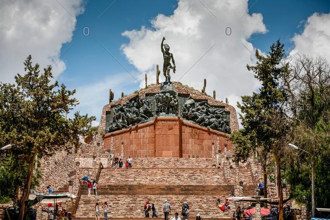 Humahuaca, Quebrada de Humahuaca, Jujuy Province, Argentina - January 8, 2012: Heroes of the Independence Monument