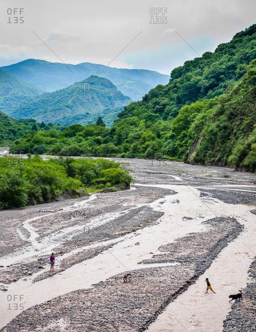 River bed in Valles Calchaquies between Cachi and Salta in Salta Province, Argentina