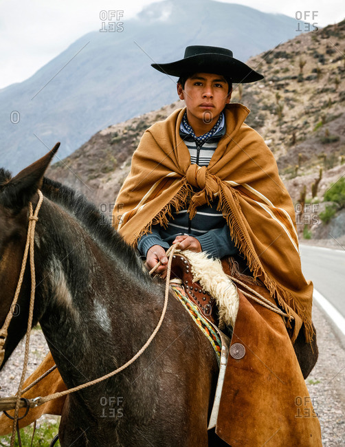 Quebrada de Humahuaca, Jujuy province, Argentina - January 6, 2012: Portrait of a northern gaucho near Purmamarca
